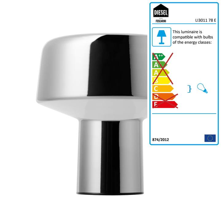 Diesel Living - Glass Drop Table Lamp, chrome