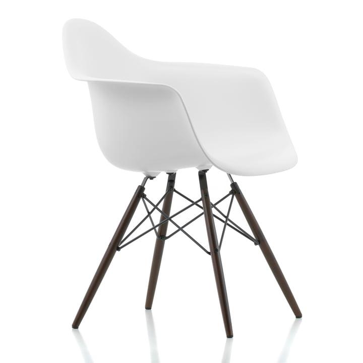 Vitra - Eames Plastic Armchair DAW, maple dark / white, felt glider black