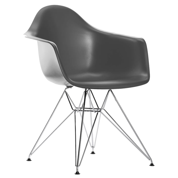 Eames Plastic Armchair DAR by Vitra in chromed / basalt