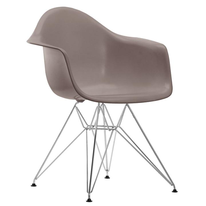 Vitra - Eames Plastic Armchair DAR, chromed / mauve grey, felt glides black