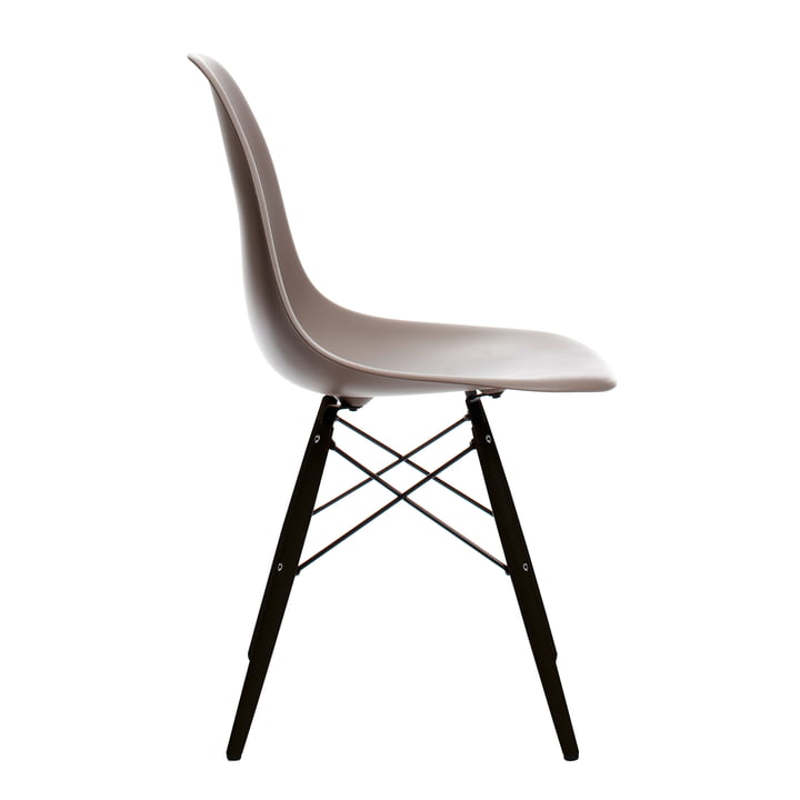 Vitra - Eames Plastic Side Chair DSW, black maple / mauve grey, felt glides black