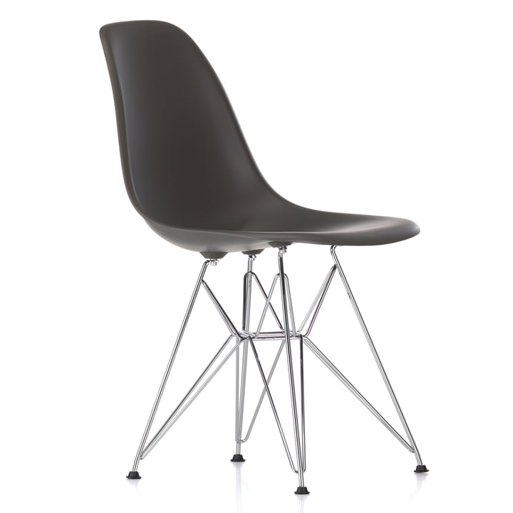 Eames Plastic Side Chair DSR by Vitra in chromed / basalt