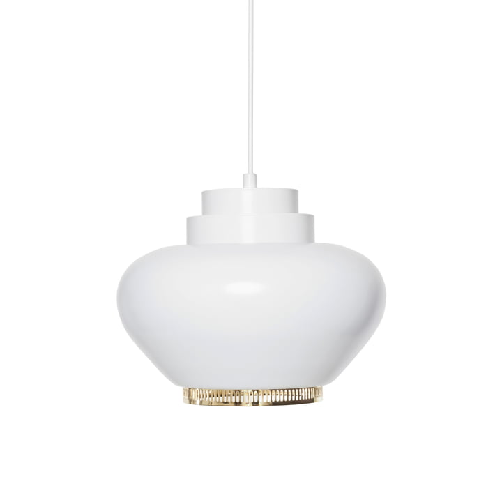 Artek - A 333 Pendant Lamp, white with brass ring