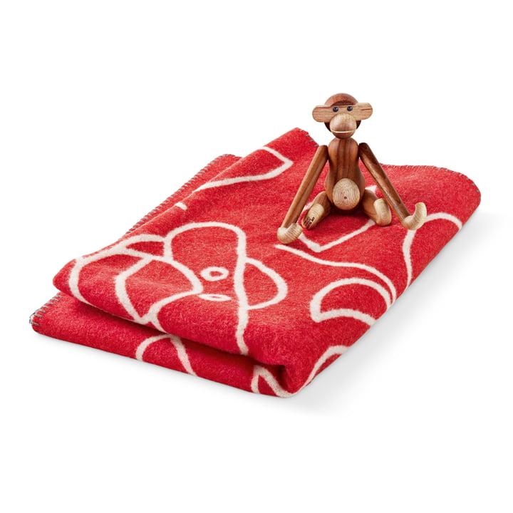 Kay Bojesen - Children's Blankets in red with wooden ape