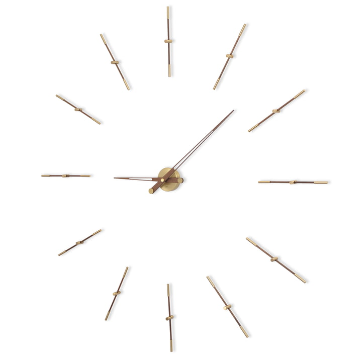 Merlin wall clock by nomon with 12 hour pointers in brass and walnut wood