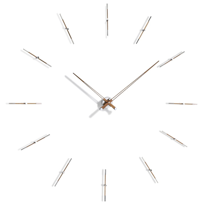 Merlin wall clock by nomon with 12 hour pointers in chrome and walnut