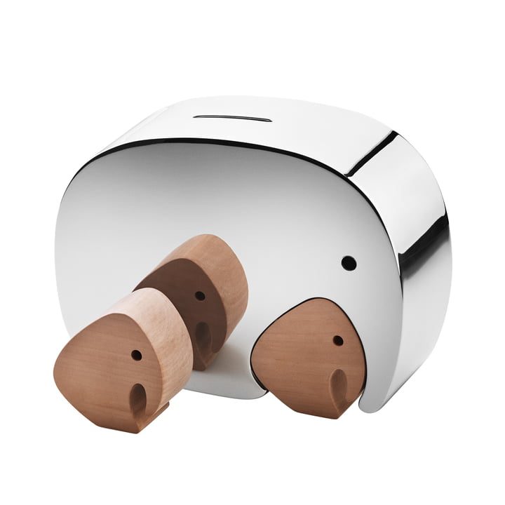 Georg Jensen - Moneyphant with twins money box, stainless steel / oak wood