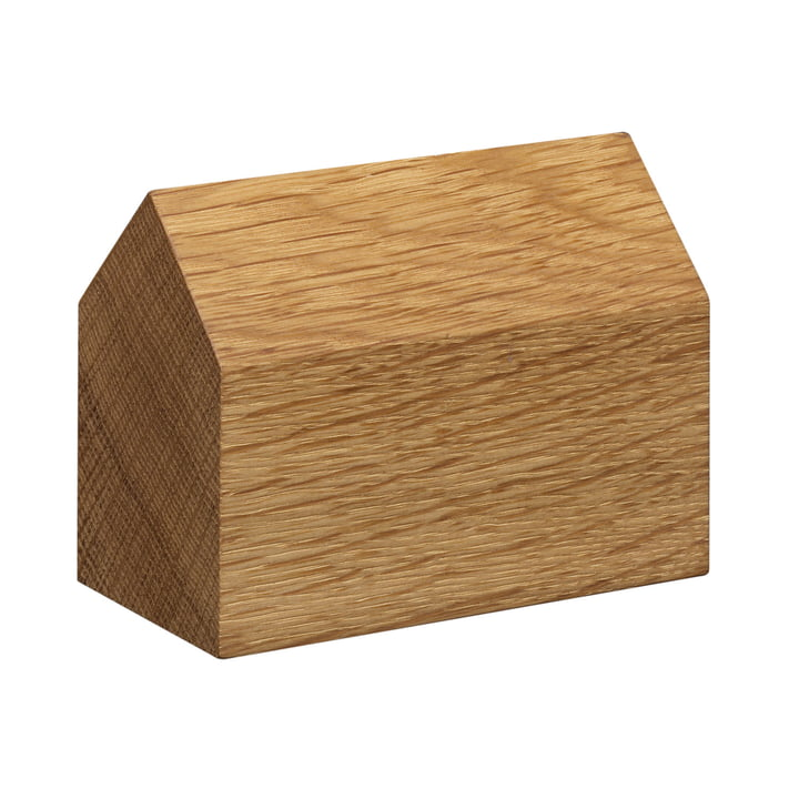 e15 - AC10 House Paperweight made of oak with large saddle roof