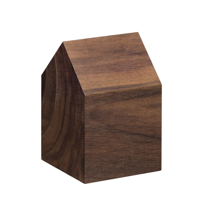 e15 - AC10 House Paperweight made of walnut with small saddle roof
