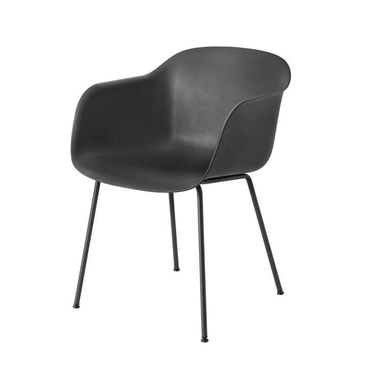 Muuto - Fiber Chair - Tube Base, black / black