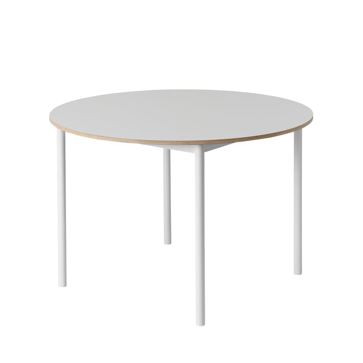 Muuto - Base Table Ø 110 cm, white / plywood edge