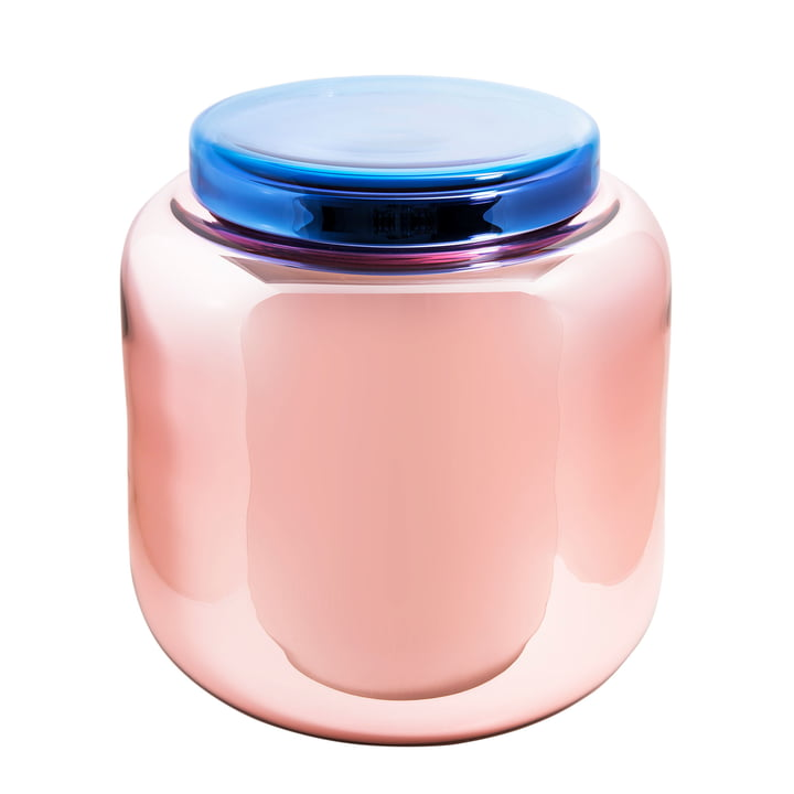 Container Table by Pulpo in Silvered Dusky Pink / Blue Lid