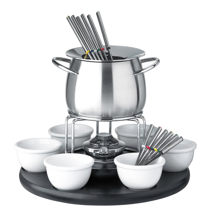 Carousel Fondue set by Spring with black turnable