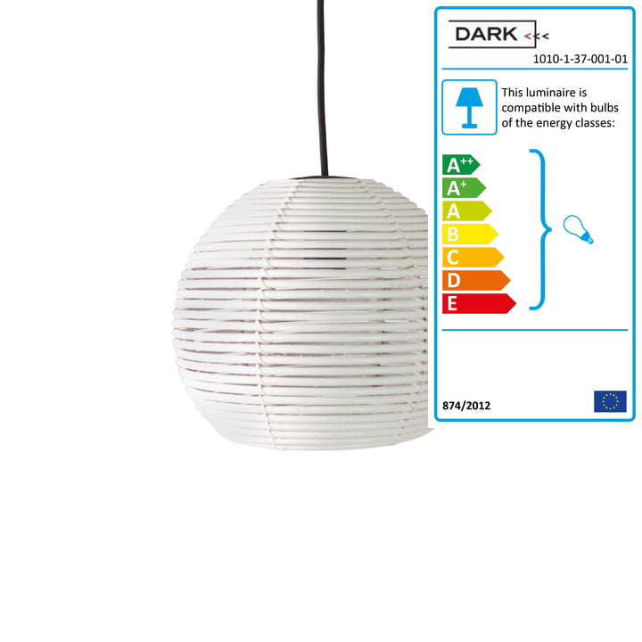 Dark - Sangha 30 pendant light, white