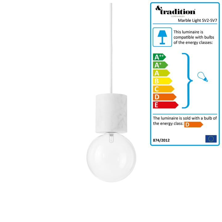 &Tradition - Marble Light Pendant Lamp SV2 in white