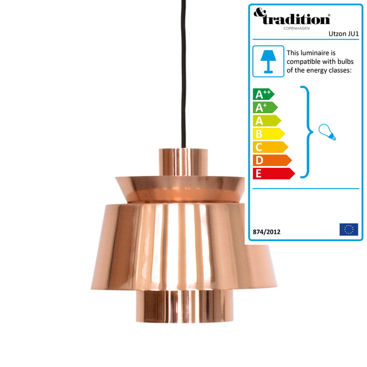 Utzon pendant lamp JU1 by &Tradition in copper