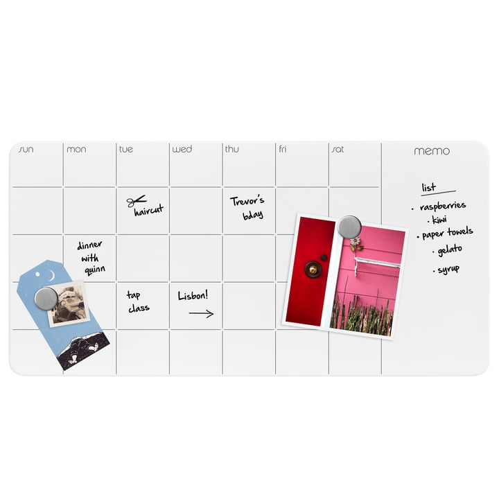 Glass panel with weekly & monthly calendar