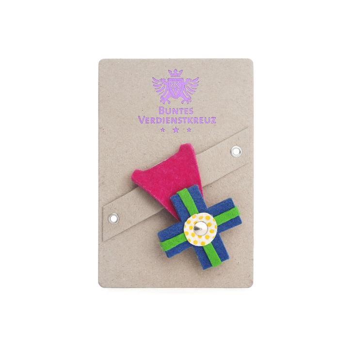 vonbox - Colourful cross of merit, pink / cyan