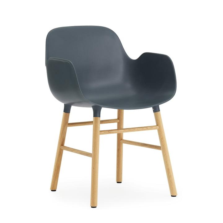 Normann Copenhagen - Form Armchair, Wooden Legs, oak / blue