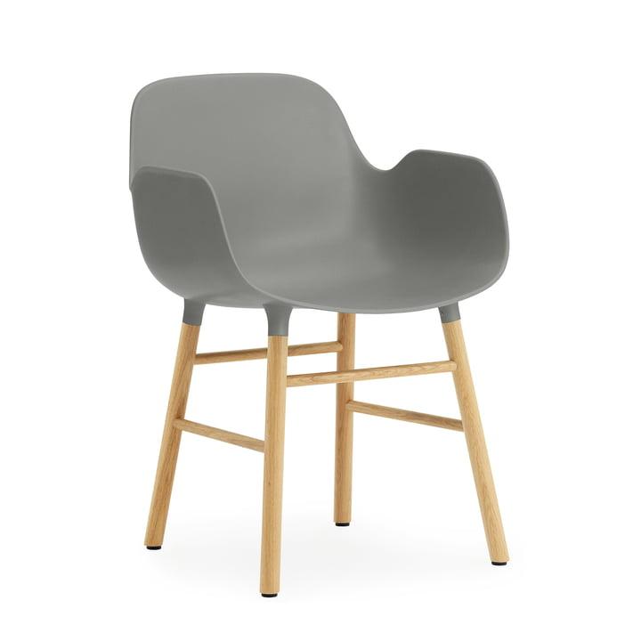 Normann Copenhagen - Form Armchair, Wood Legs, Eiche / grau