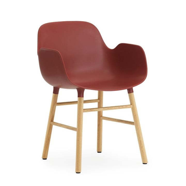Normann Copenhagen - Form Armchair, Wood Legs, Eiche / rot
