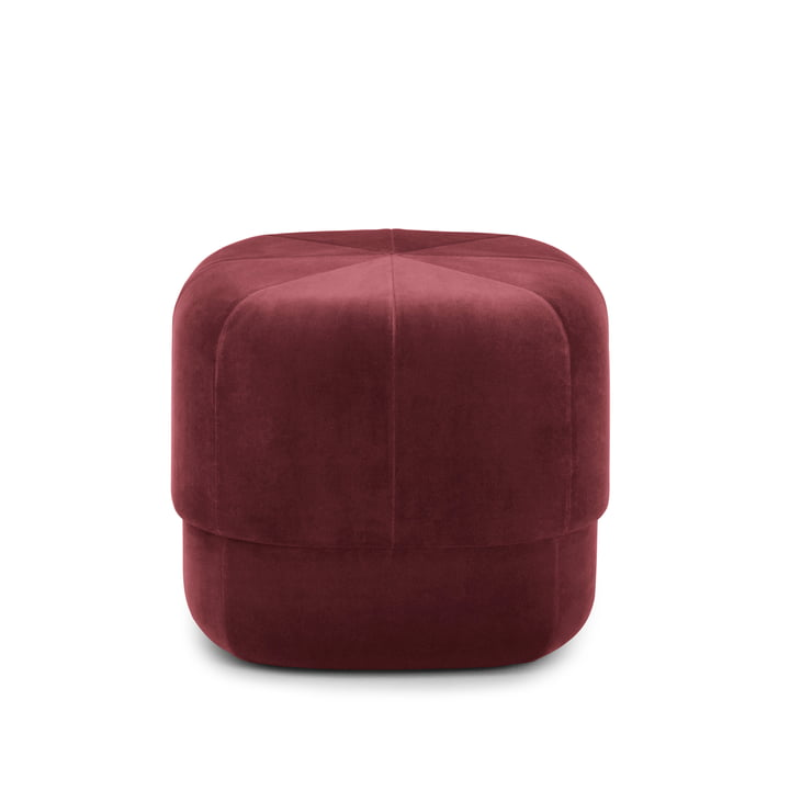 Circus Pouf in small from Normann Copenhagen in velour in dark red