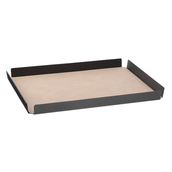 LindDNA - Tray Square aluminium Double Cloud/Nupo L 36 x 46 cm, anthracite / sand