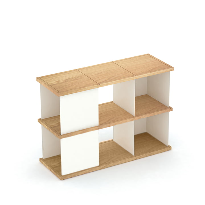 YU set 2 by Konstantin Slawinski made of oiled oak and brushed steel in white