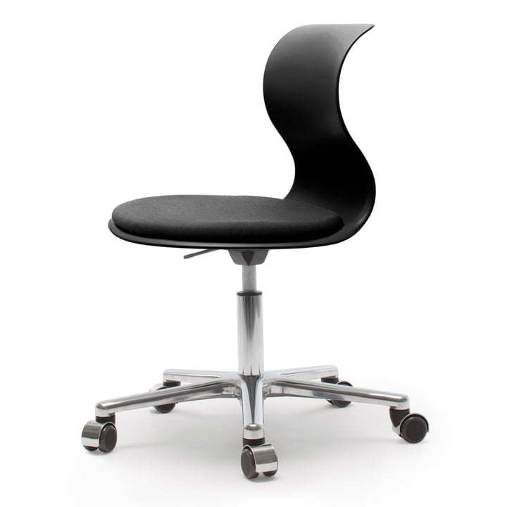 Flötotto - Pro 6 Swivel Chair, polished aluminium / graphite black, cushion granite black, soft casters (with polished cap)