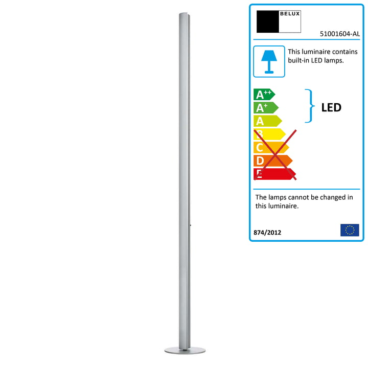 Belux - Ypsilon LED floor lamp, anodised natural aluminium