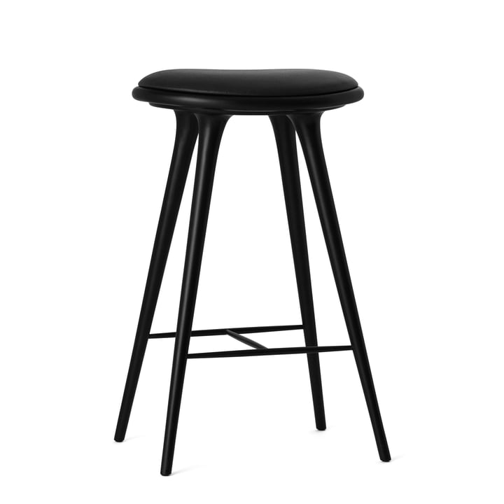 Bar stool by Mater made from black stained beech