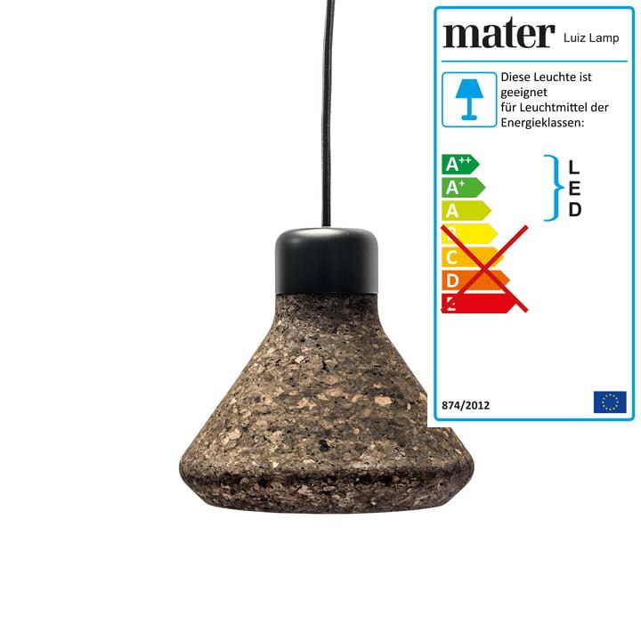 Luiz Pendant Lamp by Mater in dark cork