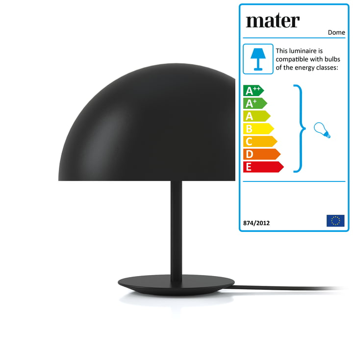 Dome Table Lamp by Mater Ø 40 cm in black