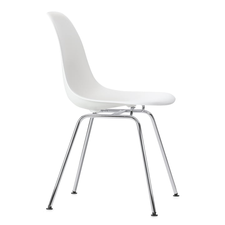 Eames Plastic Side Chair DSX by Vitra in chrome / white