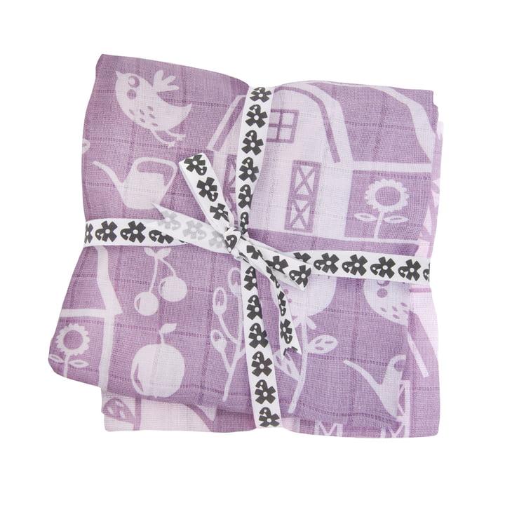 Baby Burp Cloth Farm by Sebra for girls in the set of 4