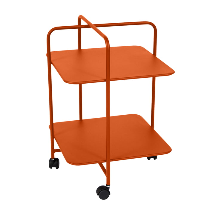 Alfred Side Table on wheels in carrot by Fermob