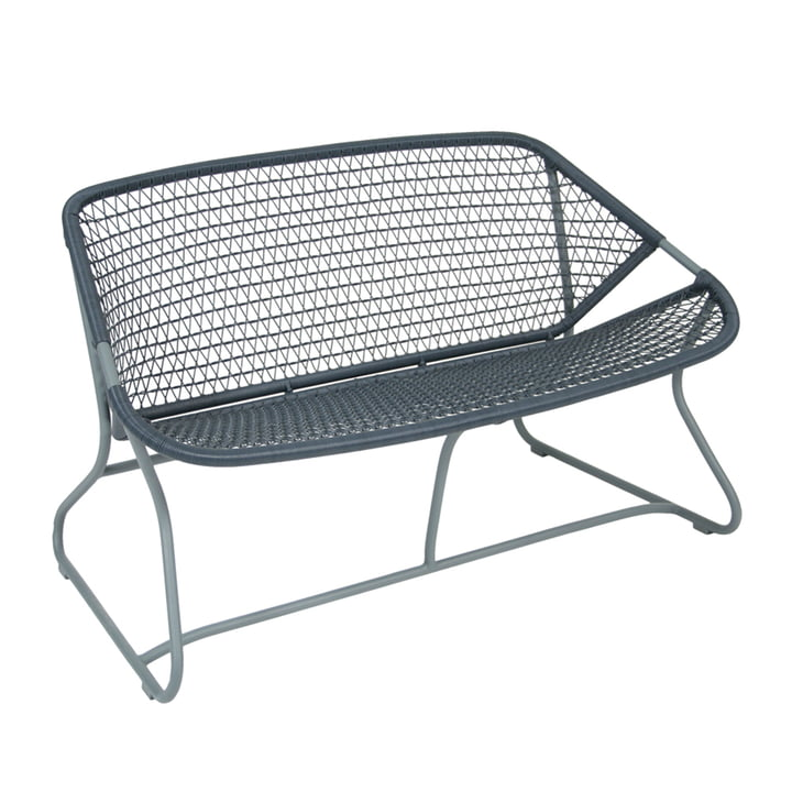 Sixties Bench by Fermob in storm grey/slate