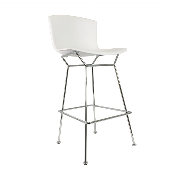 Knoll - Bertoia Plastic Bar Stool, white/chrome plated