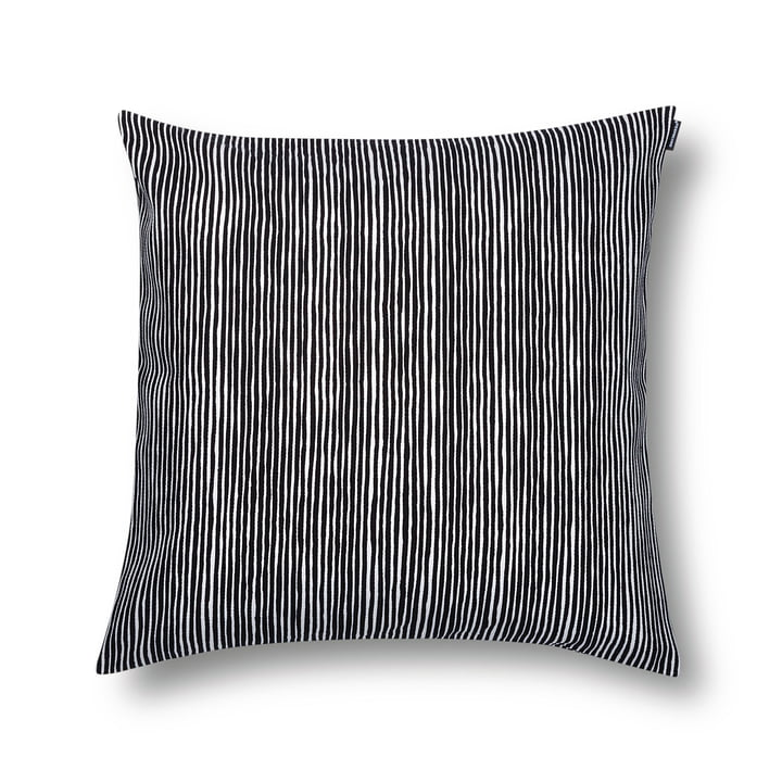 The Varvunraita cushion cover by Marimekko in the dimensions 50 x 50 cm and the colour black / white