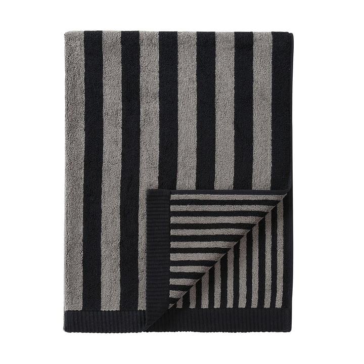 Marimekko - Kaksi Raitaa Bath Towel, grey/ black 75 x 150 cm