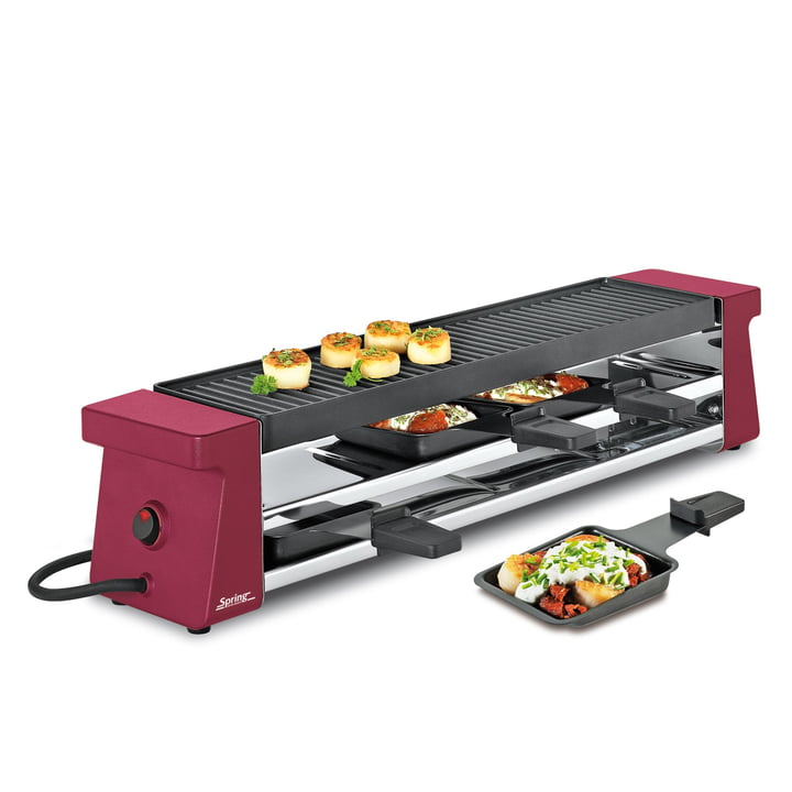 Spring - Raclette 4 Compact, red with aluminium grilling plate EU