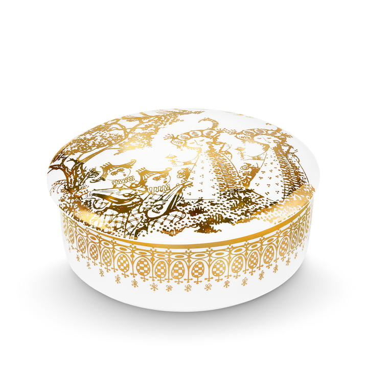 Bjørn Wiinblad - Bowl with Lid Mascarade, gold