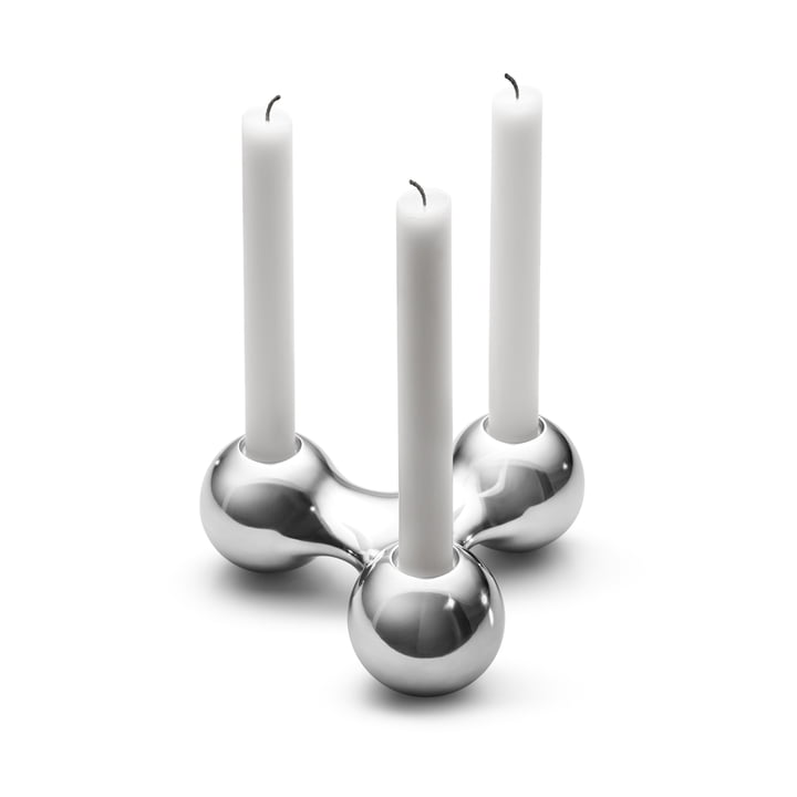 Three-piece candlestick holder by Arne Jacobsen