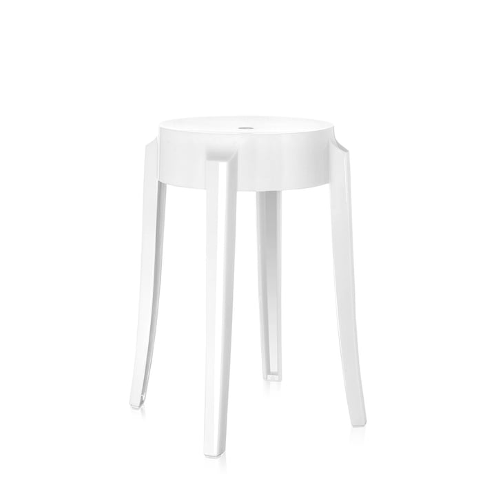 Charles Ghost Stool height 46 cm opaque by Kartell in glossy white
