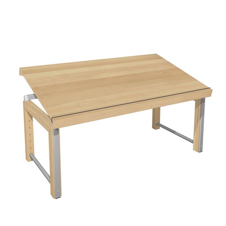Ziggy desk, continuous top by de Breuyn in natural beech wood / grey metallic.
