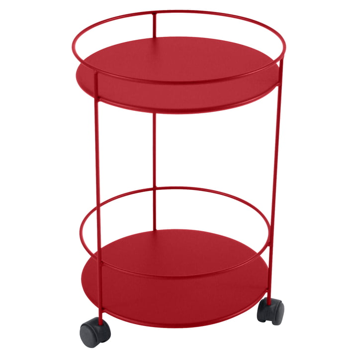 Guéridons Side Trolley on wheels by Fermob in the colour poppy