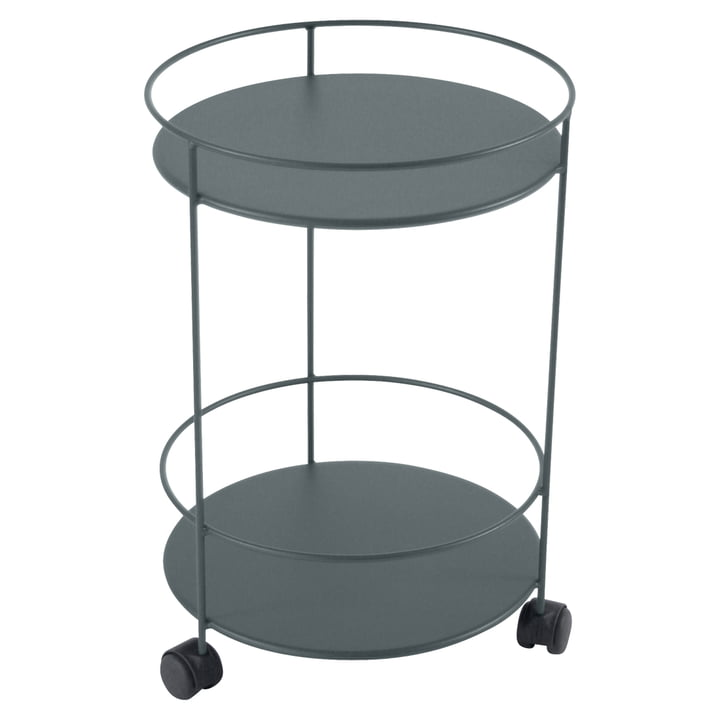 Guéridons Side Trolley on wheels by Fermob in the colour storm grey