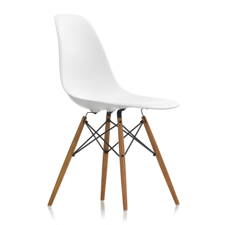 Eames Plastic Side Chair DSW by Vitra in ash honey / white