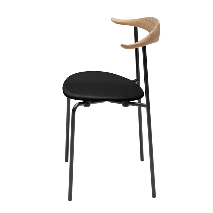 Carl Hansen - CH88P, oak oiled / leather black (Loke 7150) / frame: powder-coated black steel