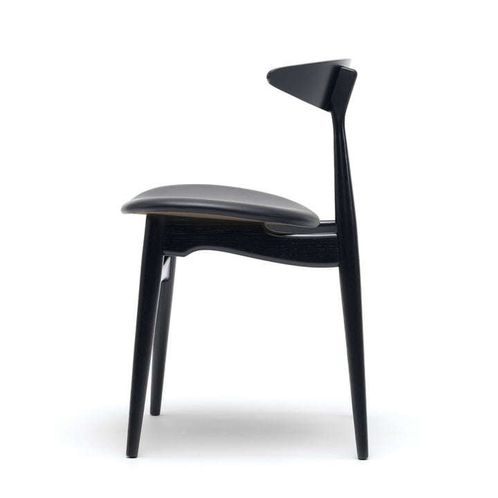 Carl Hansen - CH33P, beech black lacquered / leather black (Loke 7150) / frame: beech black lacquered